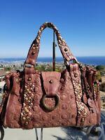 SALE MINT ISABELLA FIORE Hugs &kisses Satchel Shoulder Bag Woven Leather Handbag