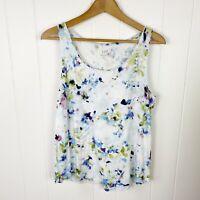 J. Jill Printed Shirttail Tank Top White Blue Floral M Medium Petite P4