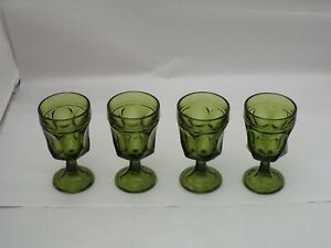 """Vintage Set of 4 Green Unmarked Hexagon Glass Cup Goblets Stemware 5.5"""""""