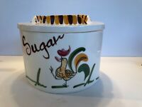 Made In California Rooster Circular Canister Set Sugar Flour Coffee
