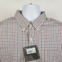 NWT Eddie Bauer Wrinkle Free Classic Fit Mens Red Blue Check Dress Shirt Size XL