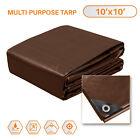 Brown Multi-Purpose Tarp Poly Tarpaulin Canopy Tent Shelter Car HeavyDuty 15 Mil