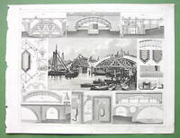 STONE BRIDGES Caissons Centering London - 1844 SUPERB Antique Print