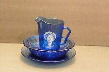 Original Hazel Atlas Cobalt Blue Glass Shirley Temple Bowl and Cup Set