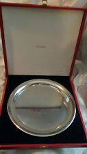 "VINTAGE 1984 CARTIER PEWTER SERVING PLATTER TRAY PLATE 11"" BOXED RARE"