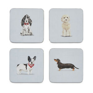 Cooksmart Curious Dogs Set of 4 Coasters Drinks Mats Table Dining Cute Animals