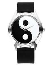 Armbanduhr Yin Yang Damenuhr weiß schwarz silber Analog Damen Mädchen Uhr Neu