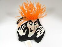 Avon Halloween Witch Face Magnet Black Nylon Satin Orange Yarn Hair Vintage