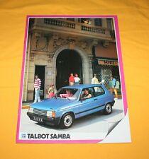 Talbot Samba Cabriolet 1983 Prospekt Brochure Depliant Catalog Prospetto Folder