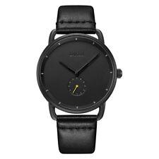 Baogela Men's Watches Quartz Movement Black Leather Strap Simple Style Watch