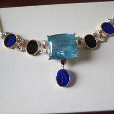Huge 86ct Santa Maria blue aquamarine diamond 14k gold ruby intaglio necklace