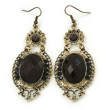 Victorian Style Black Acrylic Bead, Crystal Chandelier Earrings In Antique Gold