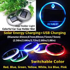 1pcs Solar Energy Coaster Car LED Light Lamp Part Accessories For Renault Parts