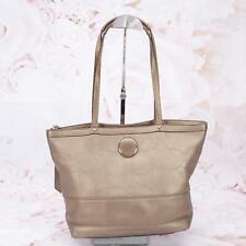 Coach Women's Stitched Signature Tote Handbag Purse Medium Leather Grey Silver