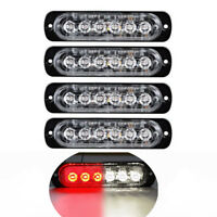 4pcs White/Red 6 LED Emergency Beacon Warning Hazard Flashing Strobe Light Bar