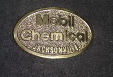 VINTAGE Mobil Chemical Brass Belt Buckle Oil & Gas Advertising
