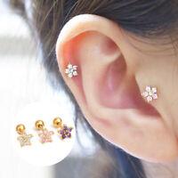 925 Silver Multiple Color Flower Ear Stud Tragus Helix Earring Piercing Jewelry