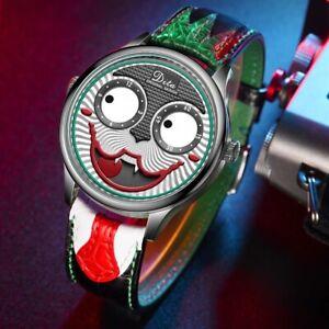 Dial Joker face Quartz Wrist Watch Leather Waterproof Analog Sports Chronograph