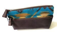 New Pendleton Blue Southwestern Wool Leather Small Cosmetic Toiletry Travel Bag