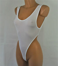 Sexy white stretchy thong leotard one-piece swimwear yoga body S/M R15344