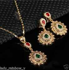 18KGP Filled Necklace Earring Green & Red Crystal Wedding Accessories top Set