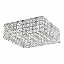 "Kichler, 11.75"" Chrome Modern Flush Mount Light, Cut-Glass Bead Square Shade"
