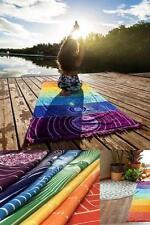 Poshfeel Single Rug Towel Tassels Rainbow Chakra Sport Tapestry Stripes Yoga Mat