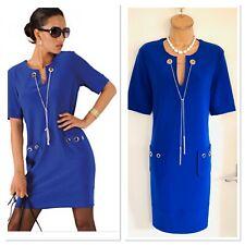JOSEPH RIBKOFF Blue Shift Dress With Eyelets & Pockets Uk Size 10-12