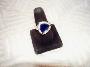 Simulated Blue Sapphire Trillion Cut Sterling Silver Ring Sz 9.5  9 1/2