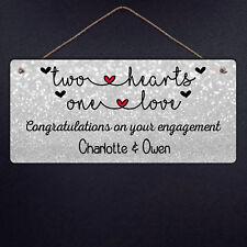 Personalised Engagement Metal Plaque - Congratulations Love Celebrate