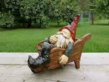 Garden Gnome Sleeping in Wheelbarrow Yard Ornament Lawn Decor Resin Nome Elf New