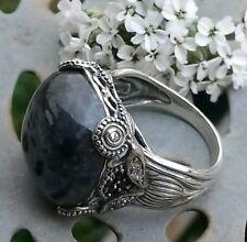 Toller Jade of Yesteryear Ring 925er Silber mit Jade Zirconia und Spinellen
