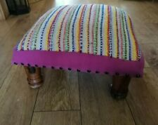 Vintage Hippy Style Low Footstool Square Pre Owned