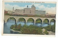St Anthony Falls Milling District Railroad Train MINNEAPOLIS MN Vintage Postcard