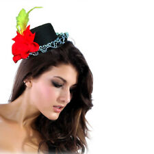 Red Floral Yellow Feather Ruffled Lolita Victorian Steampunk Black Mini Top Hat