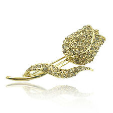 14k Gold plated rose brooch pin with Swarovski elements crystals