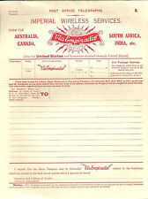 P.O.TELEGRAPHS IMPERIAL WIRELESS DEFERRED TELEGRAM SOUTH AFRICA INDIA ETC RED