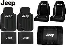 7 Pc Jeep Wrangler Interior Set Seat Covers F/R Floor Mats & Cargo Mat Protector