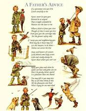 Country Humour Shooting Hunting Funny Mounted Cartoon ' Fathers Advice'