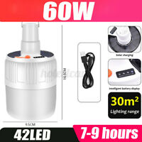35/60W Solar Powered Shed Light Bulb LED Portable Hang Up Lamp Hook Chicken