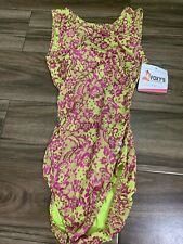 New listing FOXY'S GYMNASTICS LEOTARD COOL FLORAL PRINT OPEN BACK ADULT LARGE NWT