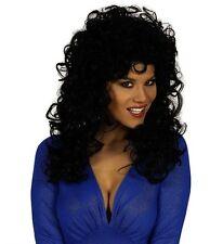 Ladies Fancy Dress Curly Wig Blonde/Brown/Black 80s Pop Star Cher Dolly Parton