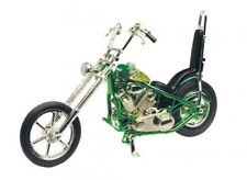 ACERO CHOPPERS verde con respaldo, custom chopper, Motormax Moto Modelo 1:18