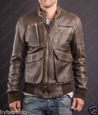 Mens Brown Vintage Bomber Motorcycle Retro Distressed Handmade Leather Jacket