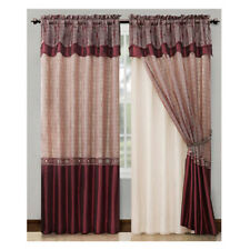 double layer curtains beige single 1 burgundy double layer window curtain set with valance 90 victoria classics red curtains drapes valances for sale ebay