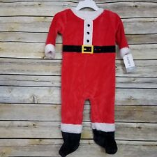 Carter's Holiday Santa Suit Sleeper Infant 9 Months Red White Faux Fur New