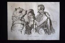 Incisione d'allegoria e satira Goergey, Ungheria, Russia Don Pirlone 1851