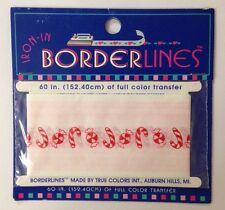 "BORDERLINES CHRISTMAS CANDY IRON-IN/ON INK TRANSFER(60"") Candy Canes•Peppermints"