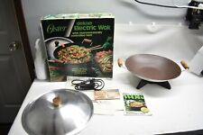 Oster Deluxe Electric Wok w/Thermostat Heat Control Vintage silverstone Nonstick
