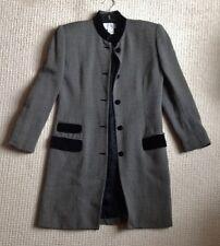 VINTAGE Jones New York Lungo Giacca CROMBIE Lana Tweed Mao COLLARE wooll & Velvet